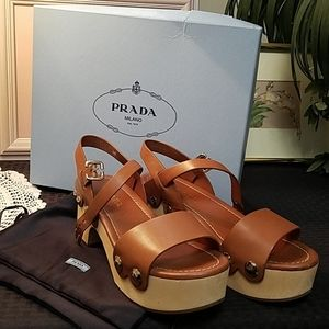 Prada brown wooden heel/leather platform sandals